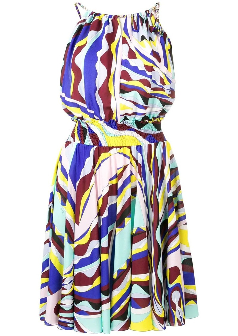 Emilio Pucci Burle Print Ruched Dress