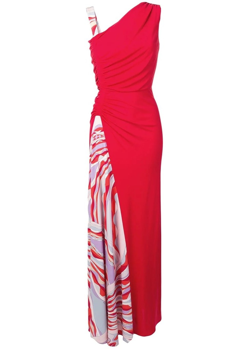 Emilio Pucci Burle Print Ruched Maxi Dress