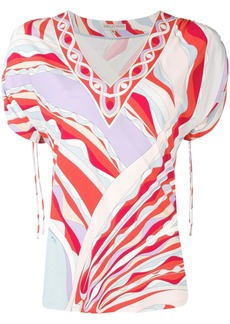 Emilio Pucci Burle Print Ruched Short Sleeved Top