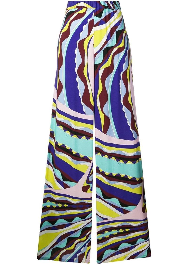 Emilio Pucci Burle Print Wide-Leg Trousers