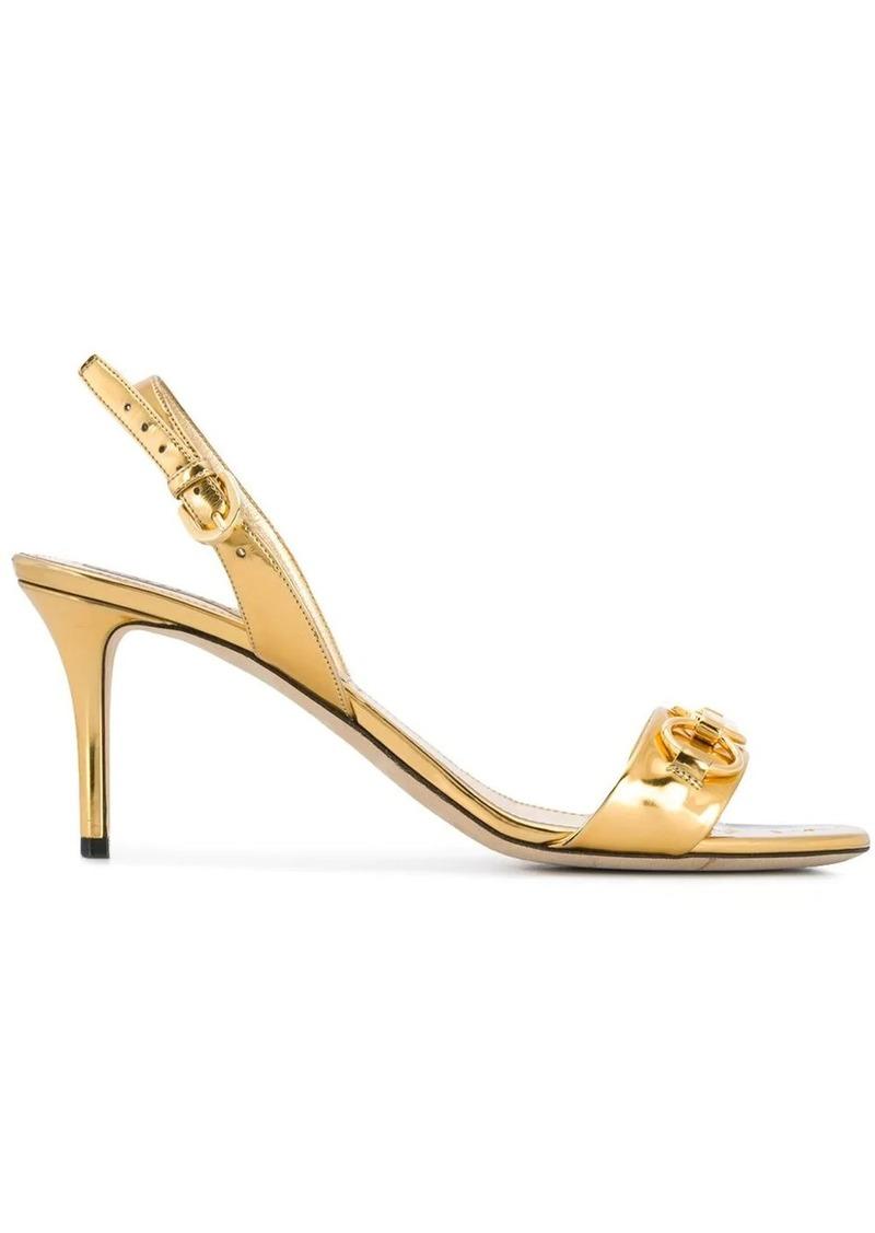 Emilio Pucci Chain Embellished Metallic Slingback Sandals