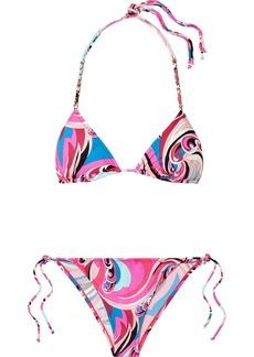 Emilio Pucci Chain-embellished printed triangle bikini