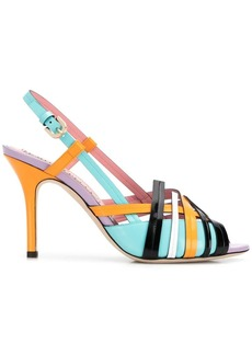 Emilio Pucci Colourblock Woven Leather Slingback Sandals