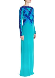 Contrast Lace Jersey Gown