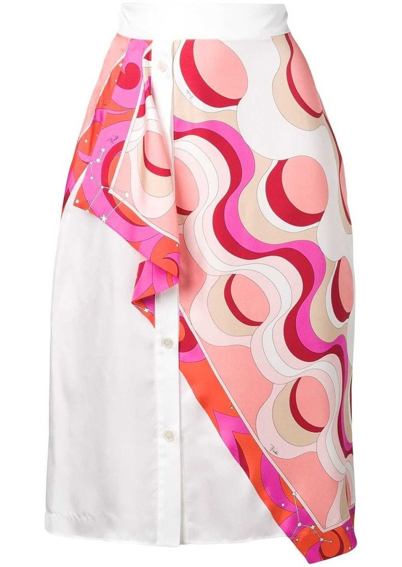 Emilio Pucci Copacabana Print Overlay Silk Skirt