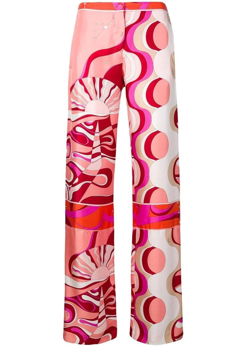 Emilio Pucci Copacabana Print Silk Trousers
