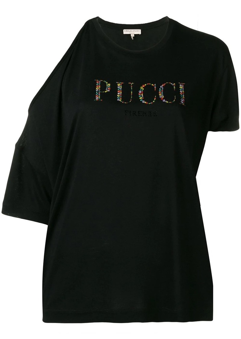 Emilio Pucci Cutout Shoulder Crystal Logo T-shirt