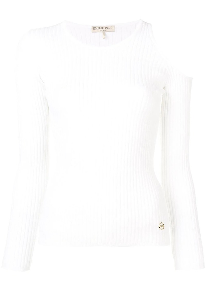 Emilio Pucci Cutout Shoulder Ribbed Knit Top