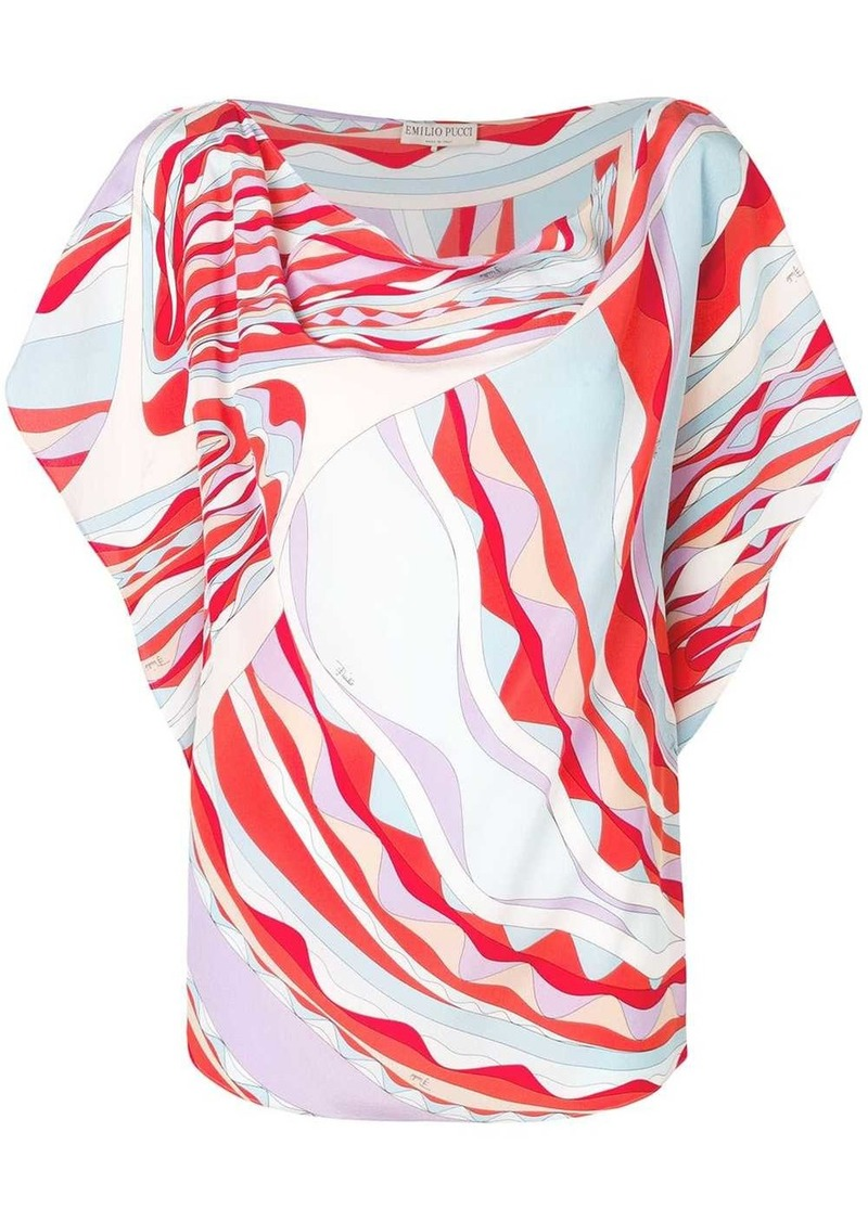 Emilio Pucci Draped-Neck Burle Print Top