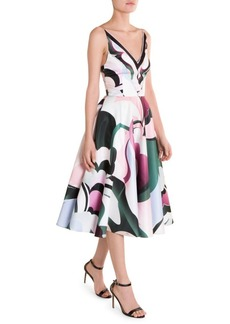 Emilio Pucci Duchess Satin Printed Fit-&-Flare Dress