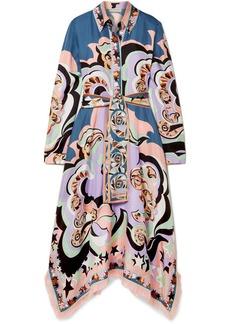 Emilio Pucci Edie Fringed Printed Silk-twill Midi Dress