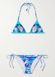 Emilio Pucci Embellished Floral-print Triangle Bikini