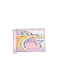 Emilio Pucci Embroidered leather luggage tag