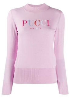 Emilio Pucci embroidered logo wool jumper