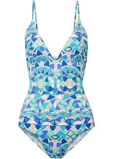 Arenal embellished printed swimsuit