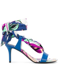 Emilio Pucci Aruba print tie up sandals - Blue