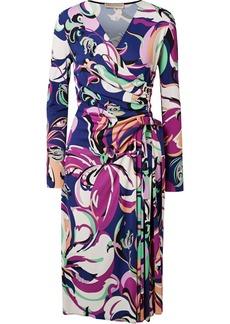 Emilio Pucci Aruba wrap-effect printed stretch-jersey midi dress