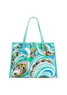 Emilio Pucci Baia Printed Beach Tote Bag with Leather Trim