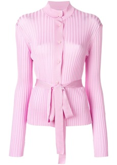 Emilio Pucci belted ribbed-knit cardigan - Pink & Purple