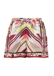 Emilio Pucci Bes-print high-rise silk-twill shorts