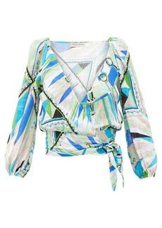 Emilio Pucci Bes-print wrap-front cotton-canvas cropped top