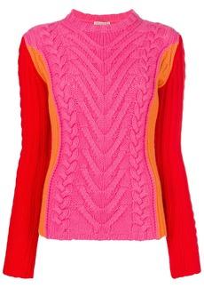 Emilio Pucci cable knit blockcolour jumper - Multicolour
