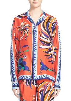 Emilio Pucci Cactus Print Silk Pajama Top