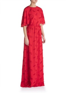Emilio Pucci Cape Back Feather Embroidered Gown