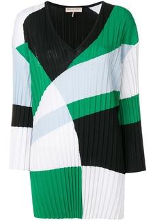 Emilio Pucci colour-block pleated V-neck jumper - Multicolour