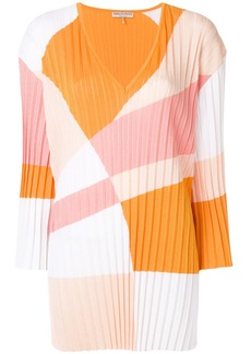 Emilio Pucci colour-block pleated V-neck jumper - Yellow & Orange