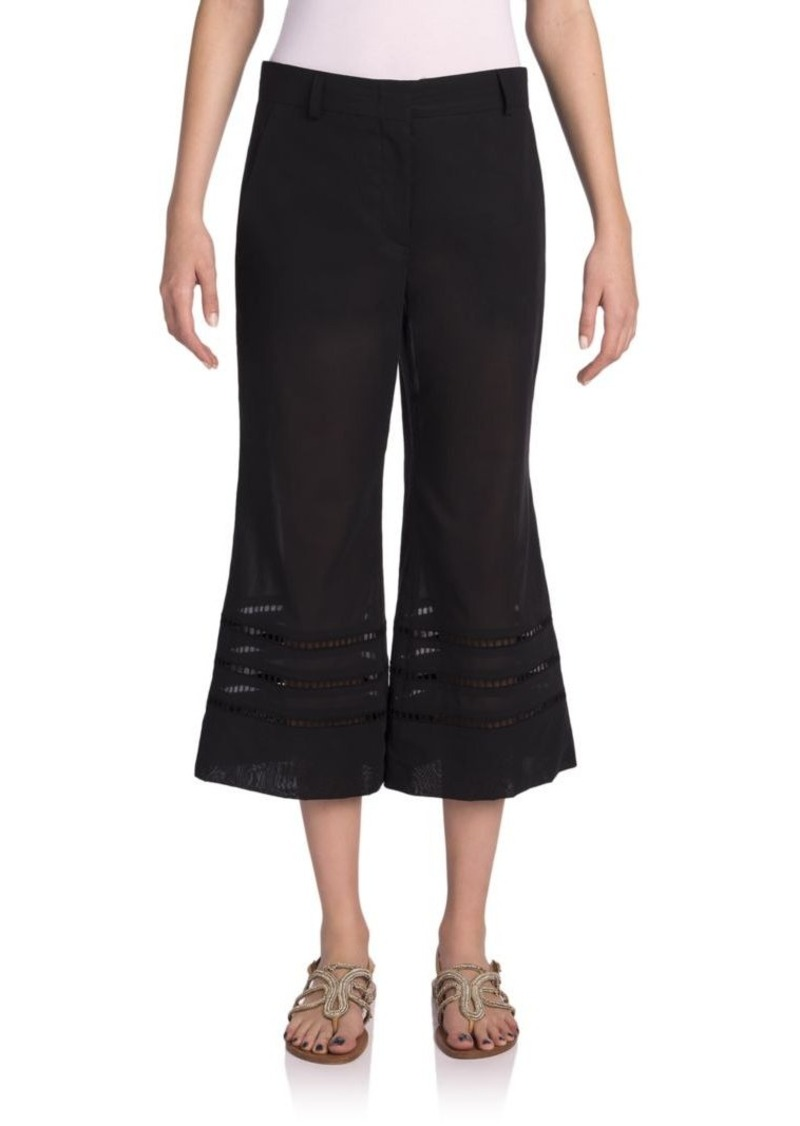 Emilio Pucci Cropped Cotton Eyelet-Hem Pants