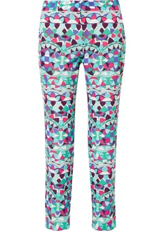 Emilio Pucci Cropped Printed Cotton-blend Faille Slim-leg Pants