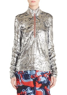 Emilio Pucci Crumpled Velvet Half Zip Pullover