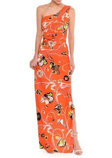 Emilio Pucci Draped One-Shoulder Floral Print Gown