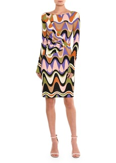 Emilio Pucci Draped Reversible Long-Sleeve Dress