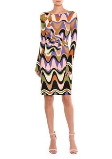 Emilio Pucci Draped Reversible Long-Sleeve Dress