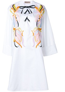 Emilio Pucci embroidered lace-up dress - White