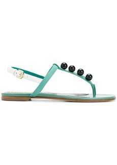 Emilio Pucci faux pearl-embellished T-bar sandals - Green