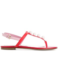 Emilio Pucci faux pearl-embellished T-bar sandals - Red