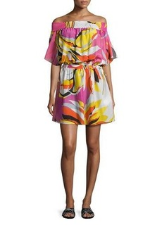 Emilio Pucci Fiore Maya Printed Off-the-Shoulder Coverup Dress