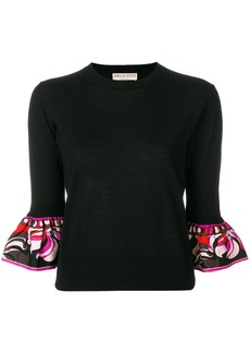 Emilio Pucci frilled-sleeve knitted top - Black