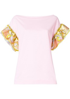 Emilio Pucci frilled-sleeve top - Pink & Purple