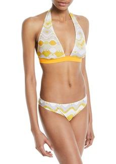 Emilio Pucci Gaiola Printed Halter Two-Piece Bikini Swim Set