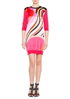 Emilio Pucci Half-Sleeve Printed Knit Tunic Dress