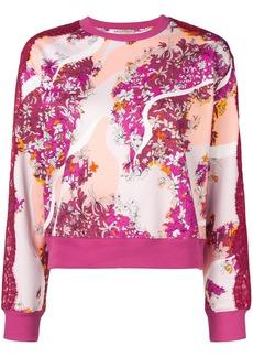 Emilio Pucci lace panels floral sweatshirt - Pink & Purple