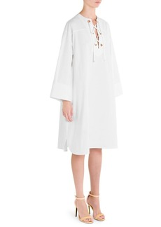 Lace-Up Caftan Dress