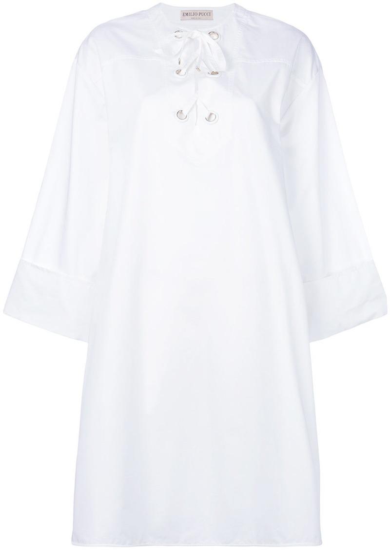Emilio Pucci lace-up neck shirt dress