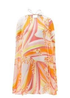 Emilio Pucci Lilly-print silk-georgette mini cape dress