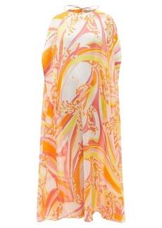 Emilio Pucci Lilly-print silk-georgette maxi cape dress