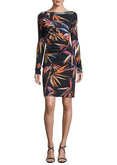 Emilio Pucci Long-Sleeve Boat-Neck Sheath Dress